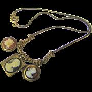 "Vintage 26"" Cameo Locket Goldtone Necklace"