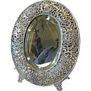 Antique Shabby & Chic Oval Filigree Dresser Mirror
