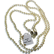 Eyeglass Chain, Freshwater Cultured Pearls, Fully Knotted, Mint with Tag