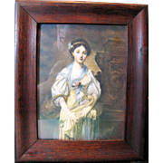 Petite Antique Lithographic Print of Lady with Flowers, Original Oak Frame