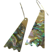 Lovely Abalone Sterling Silver Pierced Dangle Earrings