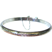Pretty Sterling Silver Engraved Hinged Bangle Bracelet, 7 Grams