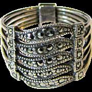 Vintage Judith Jack Marcasite Sterling Gate Ring, Size 8, 5 Grams