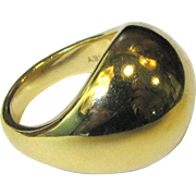 14K Yellow Gold Hollow Dome Estate Ring, Signed OT, Size 7