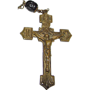 Cast Bronze Rosary w/ Molded Glass Beads