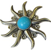 Bold Mexican Sterling & Turquoise Pin, Circa 1940's, 28 Grams