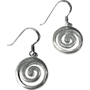 Stylish Sterling Swirl Pierced Drop Earrings, 5 Grams