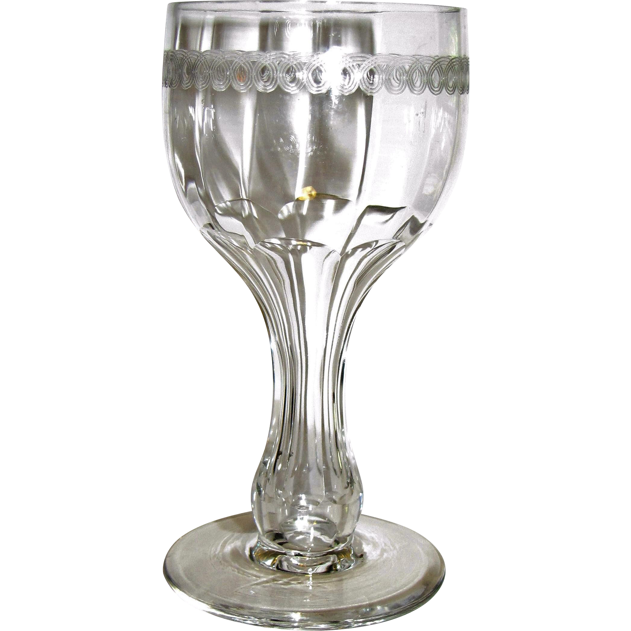 19th century antique champagne wine glass hollow stem petal cut from faywrayantiques on ruby - Hollow stem champagne glasses ...