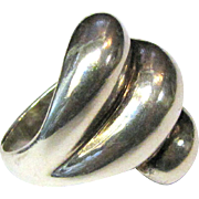Bold Modernist Sterling Large Layered Ring Size 8, 20 Grams