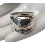 Mexican Modernist Hammered Sterling Ring, Size 8 1/4, 14 Grams