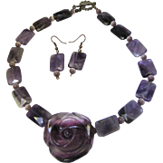 1980's Carved Amethyst Quartz Flower Necklace w/ Earrings