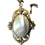 Lovely Whiting & Davis Mother of Pearl Pendant Necklace w/ 2 Chains