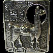 Vintage 900 Silver Peruvian Lama Pin, 15 Grams