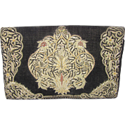 Beautiful Vintage Bullion Embroidered Clutch Handbag