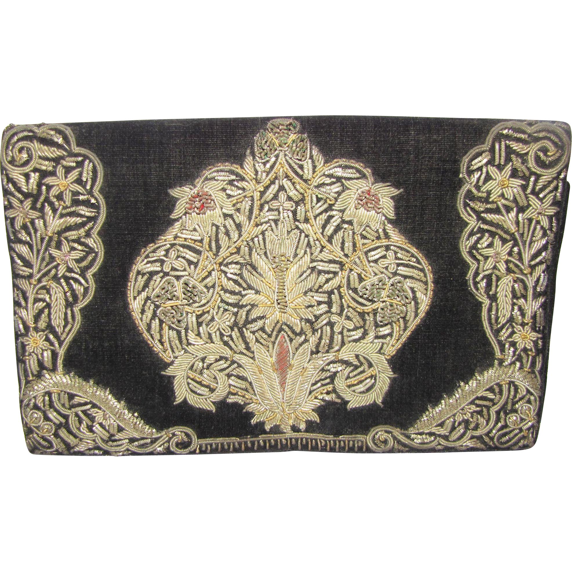 Beautiful vintage bullion embroidered clutch handbag from