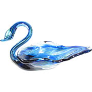 Elegant Miniature Art Glass Swan Trinket Tray