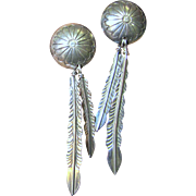 Hand Made Sterling Concho & Feather Earrings, 4 Grams