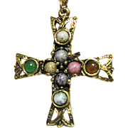 Vintage Medieval Style Goldtone Cross w/ Glass Cabochons