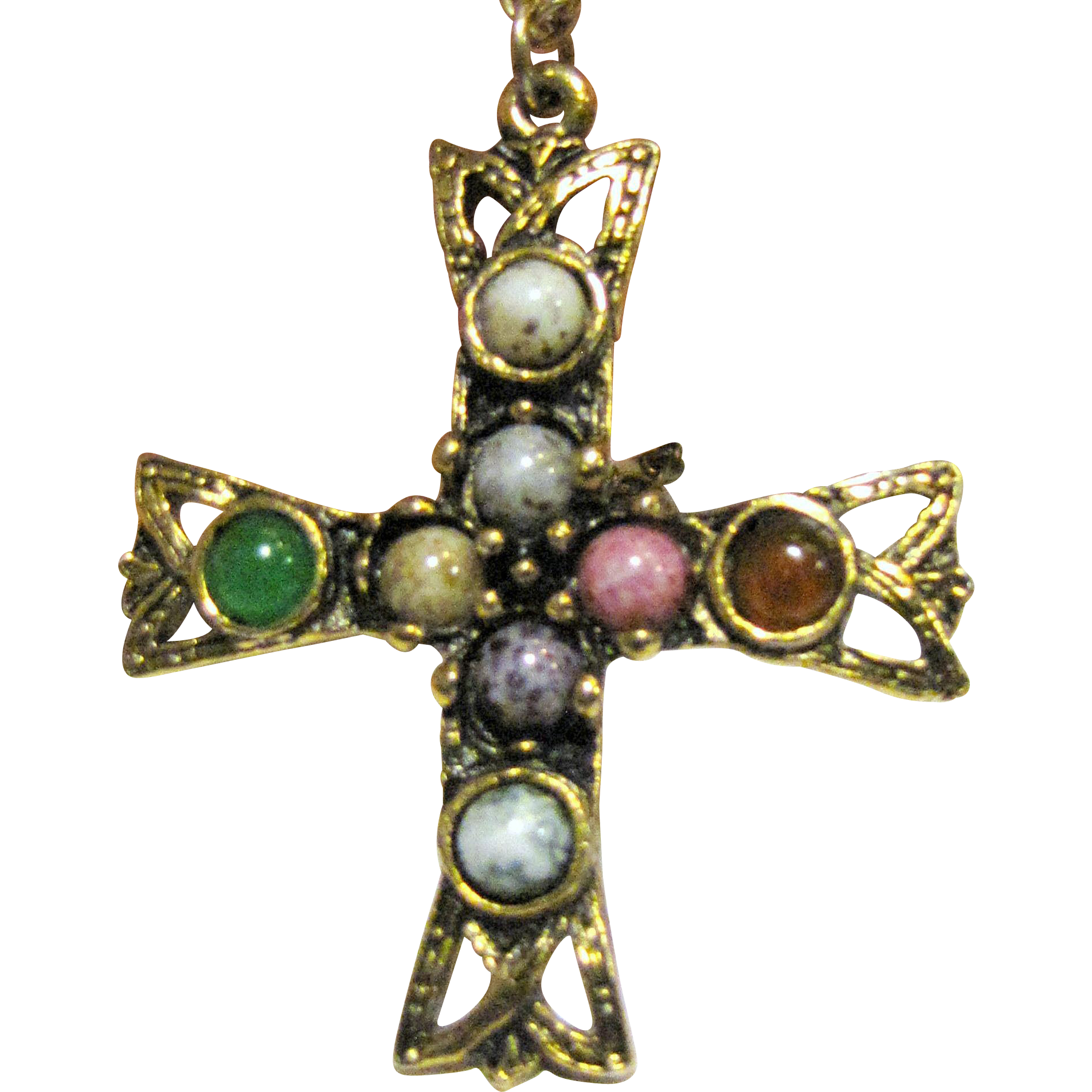 Vintage Medieval Style Goldtone Cross w/ Glass Cabochons