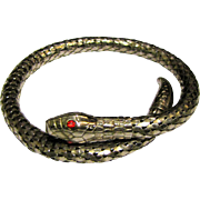 Vintage Flexible Snake Bracelet w/ Red Glass Eyes