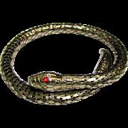 Vintage Flexible Snake Bracelet w/ Red Glass Eyes