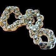 Vintage 999 Fine Silver Hammered Designer Cable Link Bracelet, 24 grams