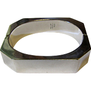 Sleek Modernist Taxco Hinged Sterling Silver Bracelet, 54 grams