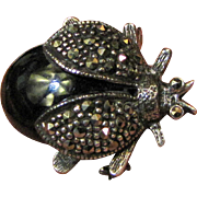 Vintage Black Onyx & Sterling Marcasite Bug Pin