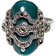 Art Deco Style Sterling, Chalcedony & Marcasite Ring Size 8, 7 grams