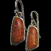 Modernist Sterling Sponge Coral Earrings by Barse, 5 grams