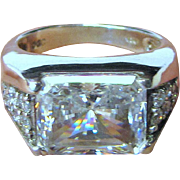 Large Sterling Asscher Cut CZ Ring, Sparkling Elegance, Size 7, 9 Grams
