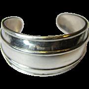 Elegant Modernist Sterling Taxco Ribbed Cuff Bracelet, 38 Grams