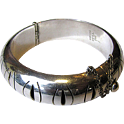 Heavy Taxco Sterling Pierced Hinged Bangle Bracelet, 48 Grams