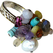 Vintage Sterling Cha Cha Cocktail Ring w/ Pearls & Gemstones, Sz 7, 11 Grams