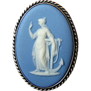 Sterling Silver Wedgwood Jasperware Pin of Salamone