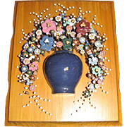 "Pol-O-Craft ""Nails In Bloom"" Nail Art Wall Plaque-Flowers In Vase, 1975"