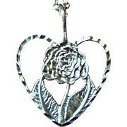 Delicate Sterling Rose Heart Pendant on Filigree Chain