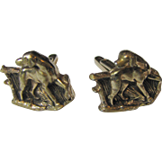 Vintage Goldtone Hunting Dog Cufflinks Hickok, Circa 1960's