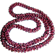 "Woven Garnet Rope Necklace, 26"", 90 Grams"