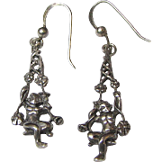 Victorian Revival Sterling Swinging Cherub Vintage Earrings, 3 Grams