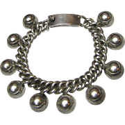 "Early Mexico Sterling Dome Charm Bracelet, 6 1/2"", 49 Grams"