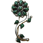 Taxco Sterling & Malachite Flower Pin,  6.4g