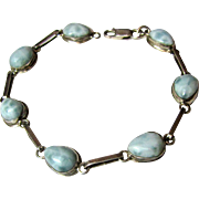 "Hand Made Larimar & Sterling Bracelet, 7 1/2 "", 12 Grams"