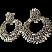 """1 5/8"""" Sterling Bright Cut Lattice Hoop Earrings, 11.7 grams"""