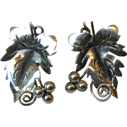 Mexican Artisan Grape Leaf Pierced Sterling Earrings, 7 grams