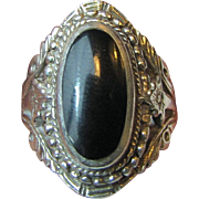 Highly Ornate Sterling & Onyx Ring, Size 7 1/2, 12 grams