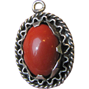 Pretty Vintage Hand Made Silver & Red Coral Pendant, 3.8 Grams