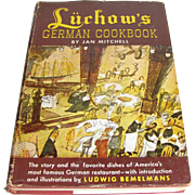 Luchow's German Cookbook by Jan Mitchell, NYC Restaurant Recipes, illus. Ludwig Bemelmans HCDJ 1952
