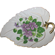Pretty Violet Design Gilt Leaf Trinket Dish by Orion China, Japan