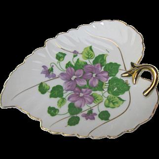Pretty Violet Design Gilt Leaf Trinket Dish by Orion China, Japan